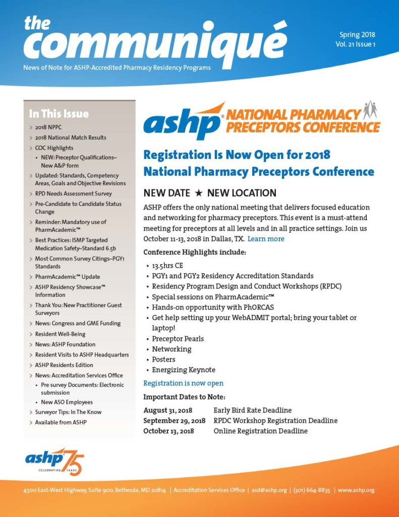 ASHP Communique Newsletter
